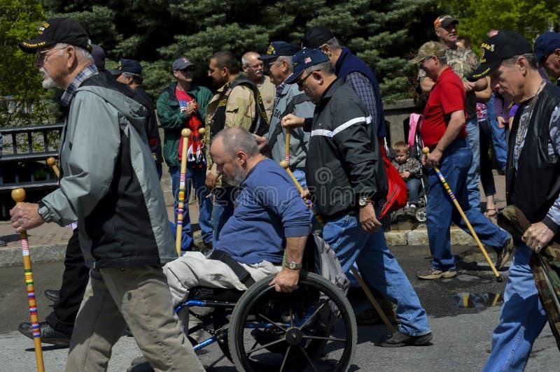 Ветеран Wheelchaired в четверти парада в июле стоковое изображение rf