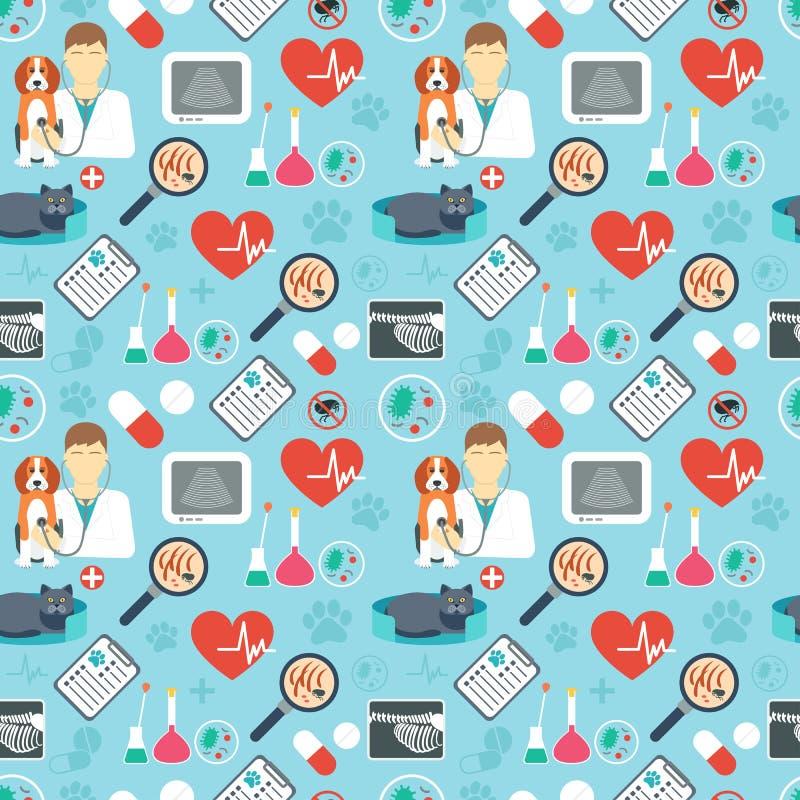 Ветеринарная безшовная картина Клиника ветеринара Плоский дизайн background card congratulation invitation вектор бесплатная иллюстрация