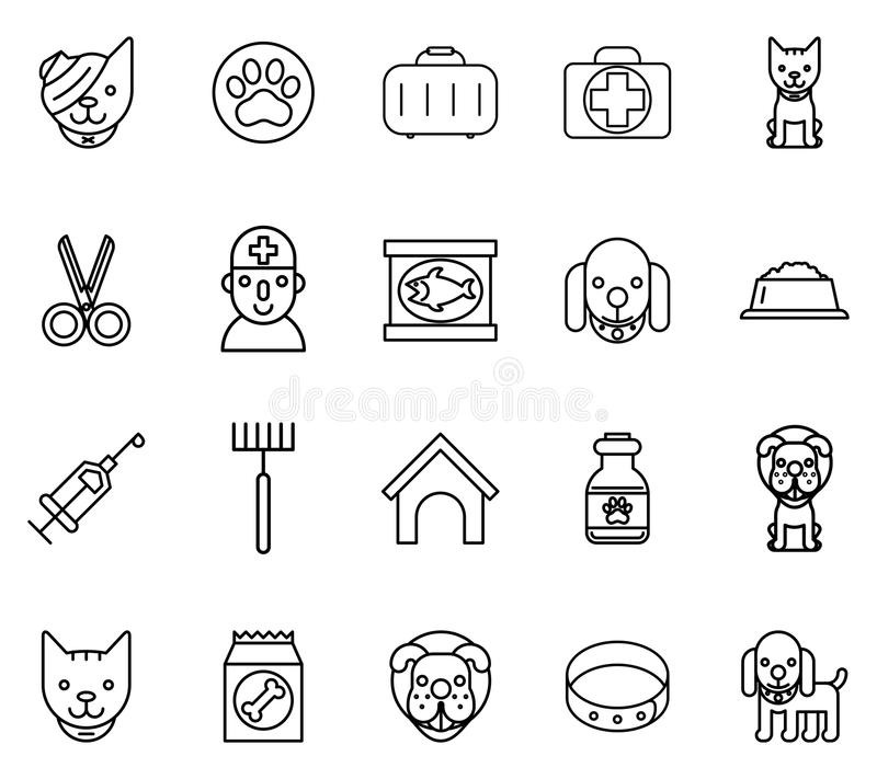 Ветеринарная линия значки Любимчики утончают знаки иллюстрация вектора