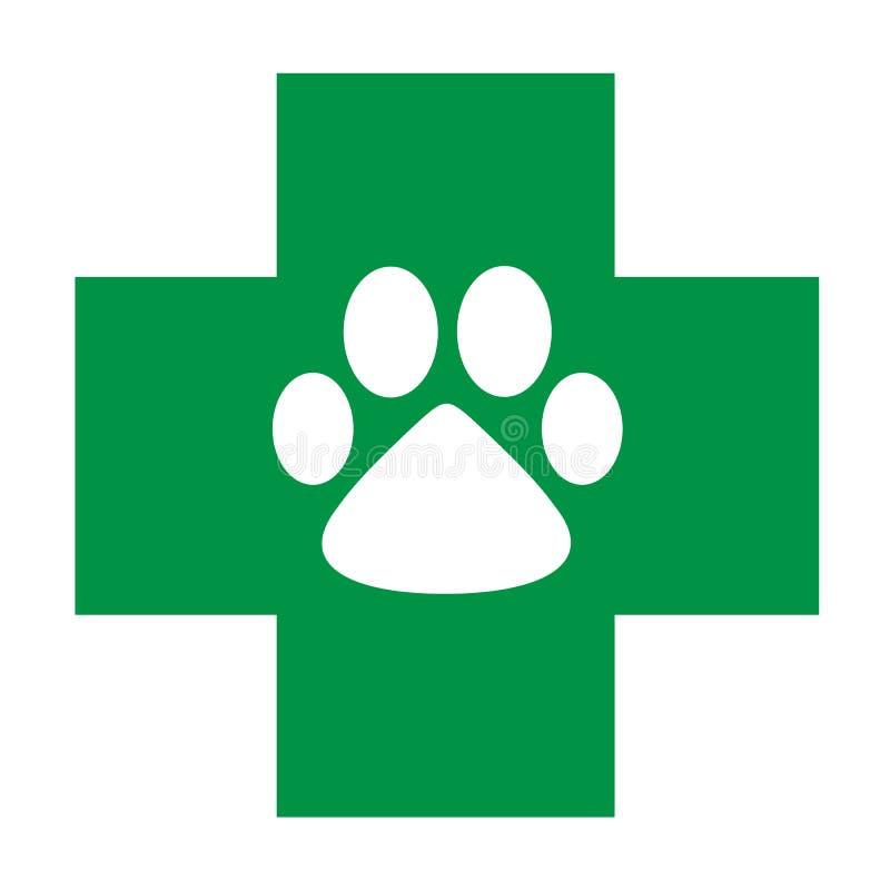 Ветеринарный крест зеленого цвета значка заботы с белой лапкой бесплатная иллюстрация