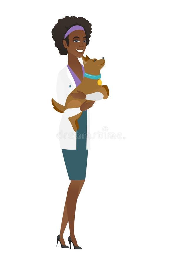 Ветеринар с собакой в иллюстрации вектора рук иллюстрация вектора