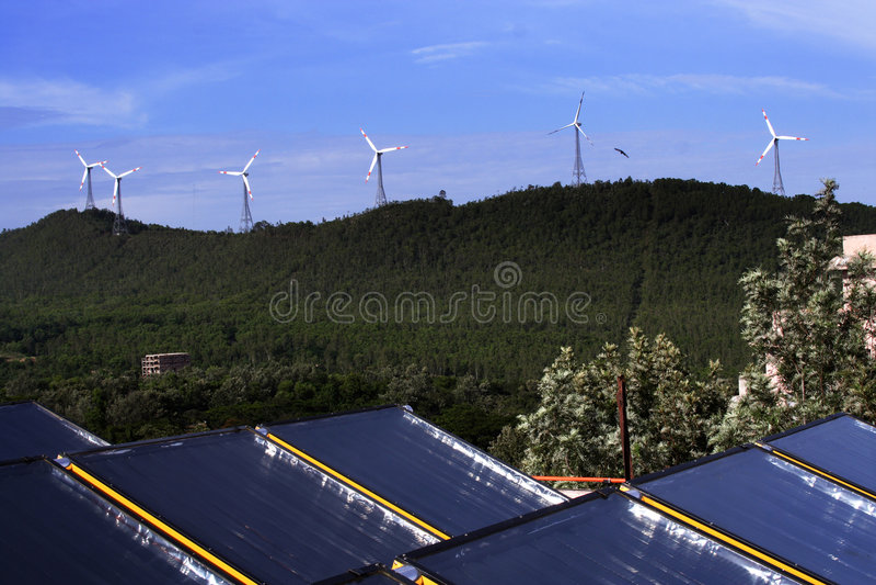 ветер силы энергии солнечный стоковая фотография rf