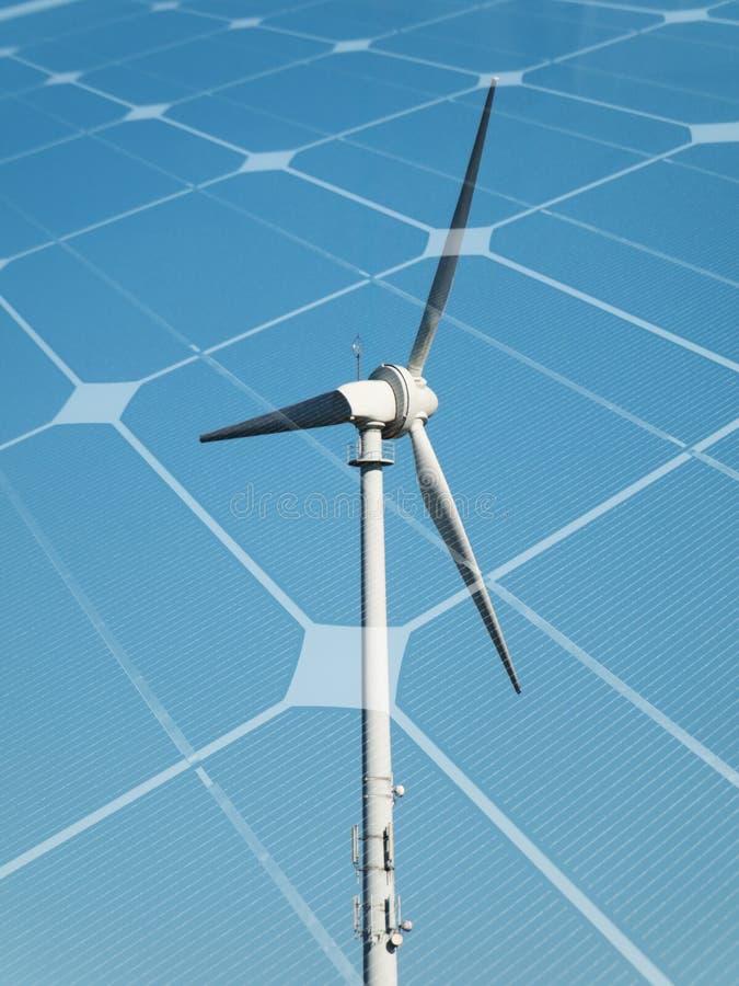 ветер турбины панели солнечный стоковые фото
