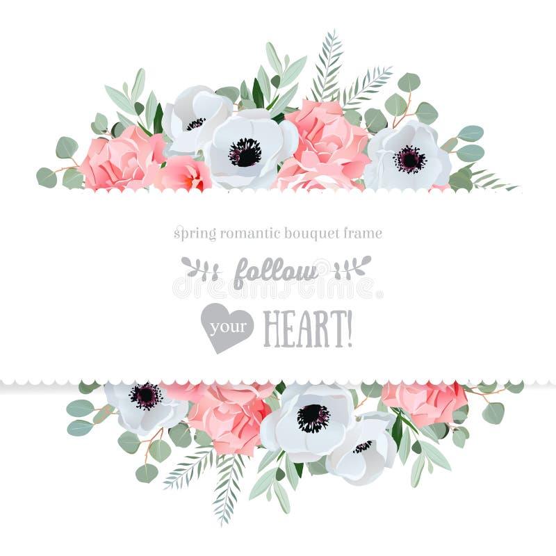 Ветреница, подняла, украшает дырочками цветки и декоративным карточку дизайна листьев eucaliptus отраженную вектором бесплатная иллюстрация