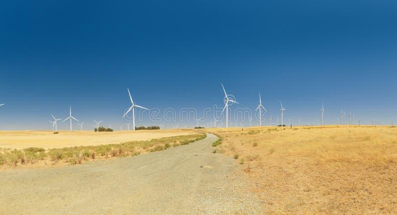 Ветровая электростанция с голубым небом в Калифорнии стоковая фотография