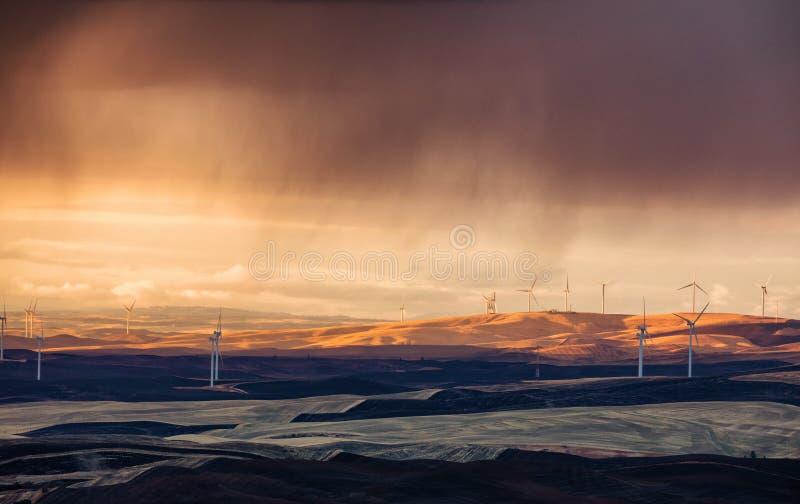 Ветровая электростанция Palouse, Вашингтон стоковые фото