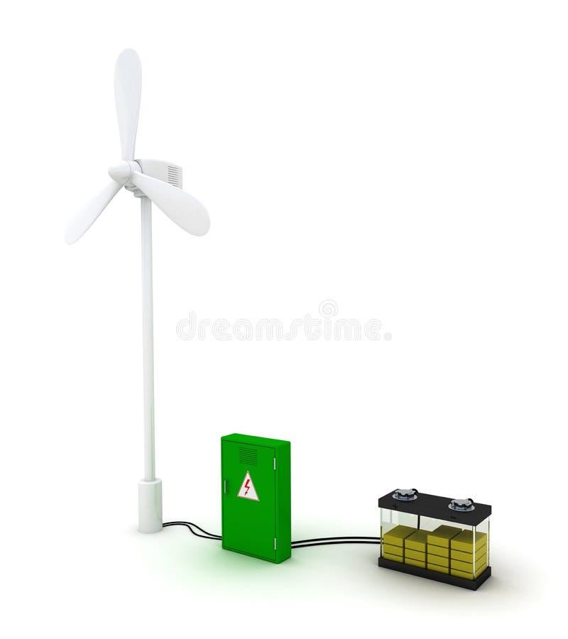 Ветротурбина и желтым порученная аккумулятором половина иллюстрация вектора