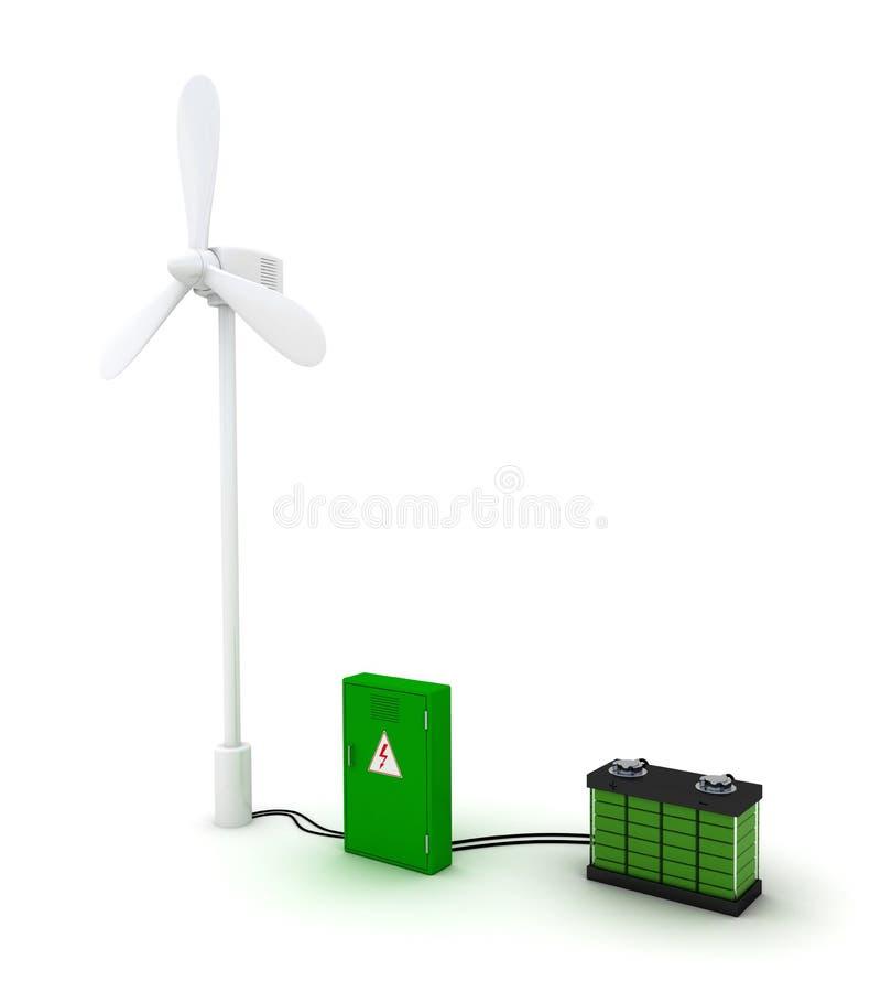 Ветротурбина и порученный аккумулятор иллюстрация штока