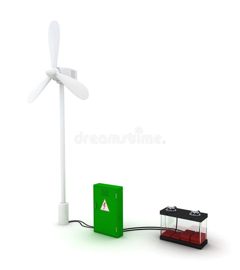 Ветротурбина и пустой аккумулятор иллюстрация вектора