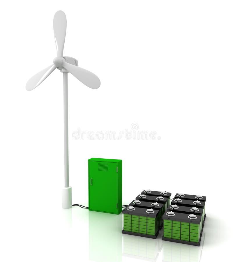 Ветротурбина и электрошокер и 2 зеленых аккумулятора иллюстрация вектора
