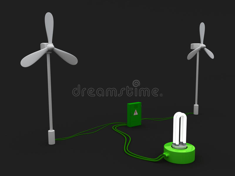 2 ветротурбина и электрошокер и электрическая лампочка на черной предпосылке бесплатная иллюстрация