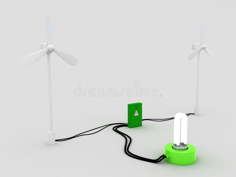 2 ветротурбина и электрошокер и электрическая лампочка бесплатная иллюстрация