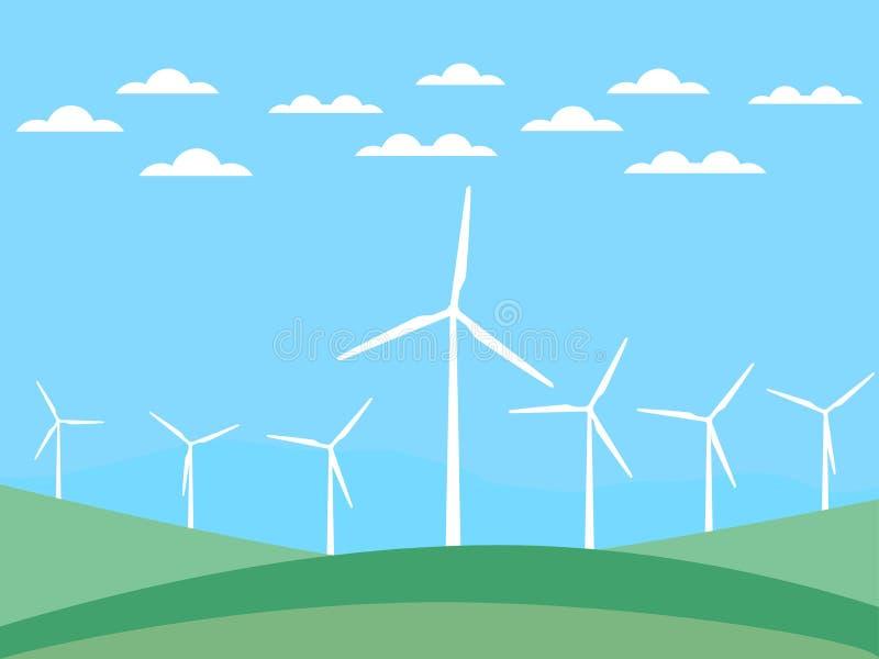 Ветротурбина на зеленых полях в плоском стиле энергия способная к возрождению вектор иллюстрация штока
