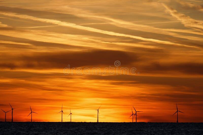 Ветроферма на море на закате стоковая фотография