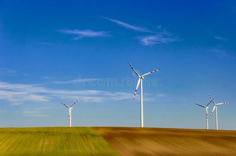 Ветрянка в зеленом поле против голубого неба Естественно дружелюбные  стоковая фотография rf