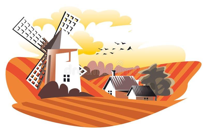 ветрянка в поле бесплатная иллюстрация