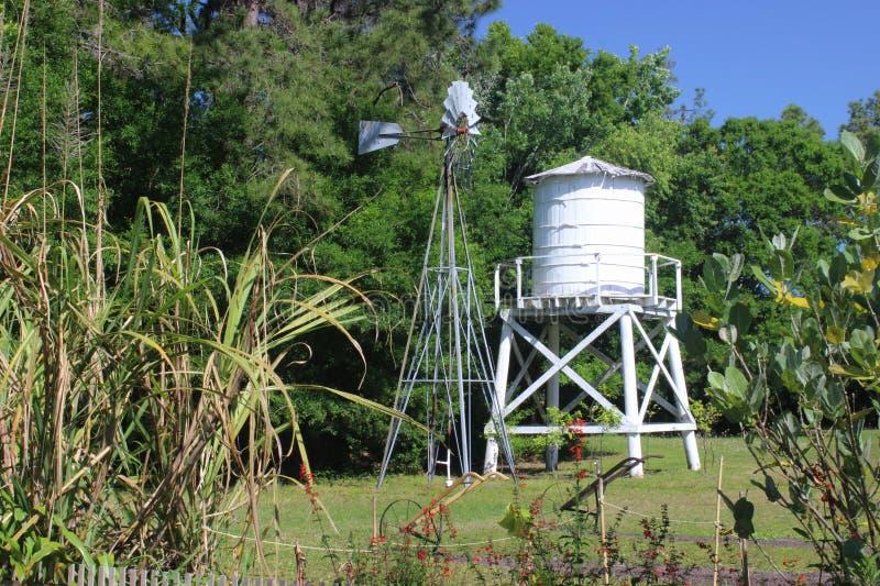 Ветрянка и водонапорная башня стоковое изображение rf