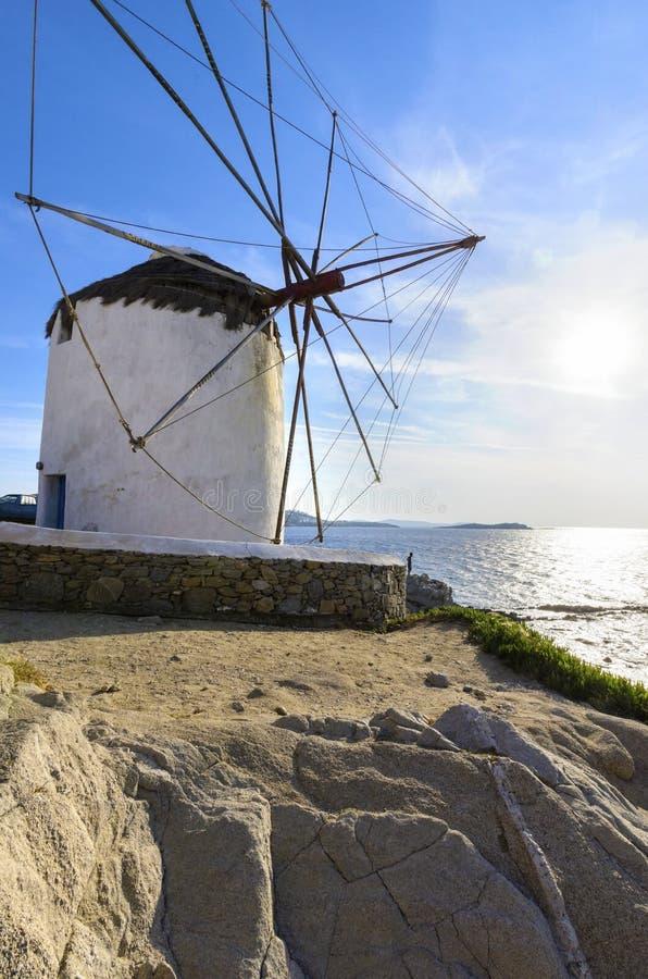 Ветрянка Mykonos, Chora, Греция стоковые фотографии rf