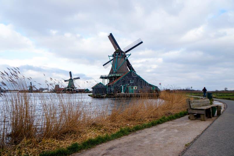 Ветрянка Zaanse Schans стоковое изображение rf