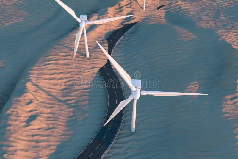 Ветрянки и извилистая дорога в открытом, перевод 3d бесплатная иллюстрация