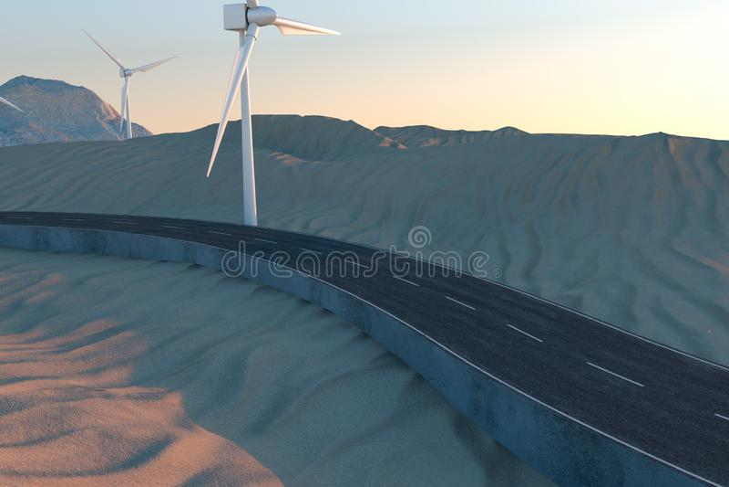 Ветрянки и извилистая дорога в открытом, перевод 3d иллюстрация вектора