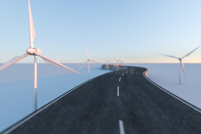Ветрянки и извилистая дорога в открытом, перевод 3d иллюстрация штока