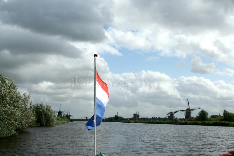 Ветрянки Kinderdijk в Голландии стоковое изображение rf
