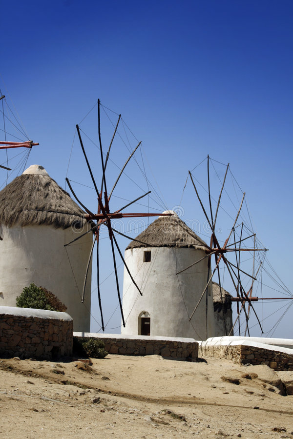 ветрянки mykonos Греции стоковое фото rf