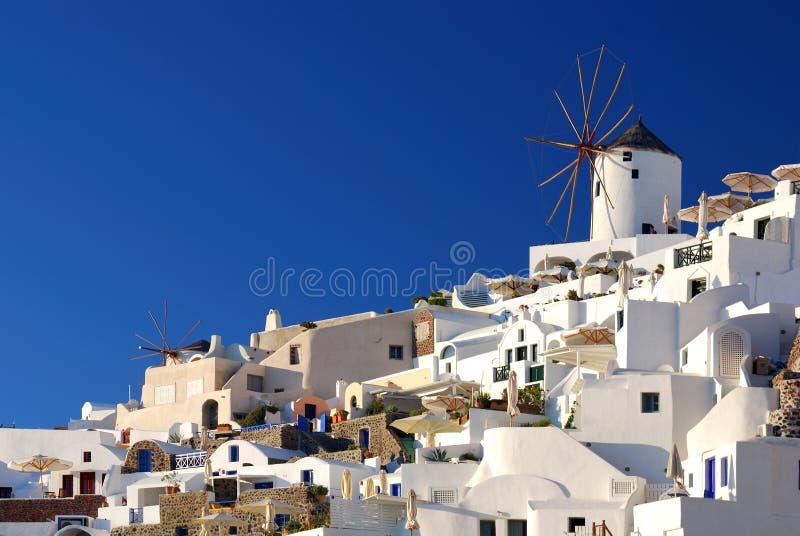 ветрянки santorini Греции oia стоковые изображения rf