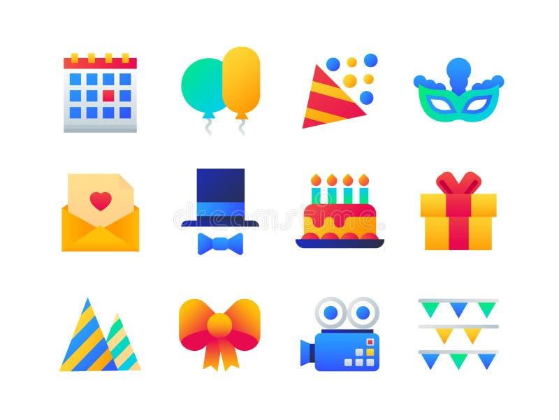 Вечеринка по случаю дня рождения - комплект плоских значков стиля дизайна иллюстрация штока
