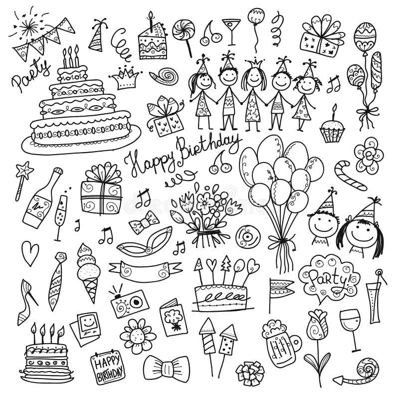 Вечеринка по случаю дня рождения, крася значки для вашего дизайна бесплатная иллюстрация