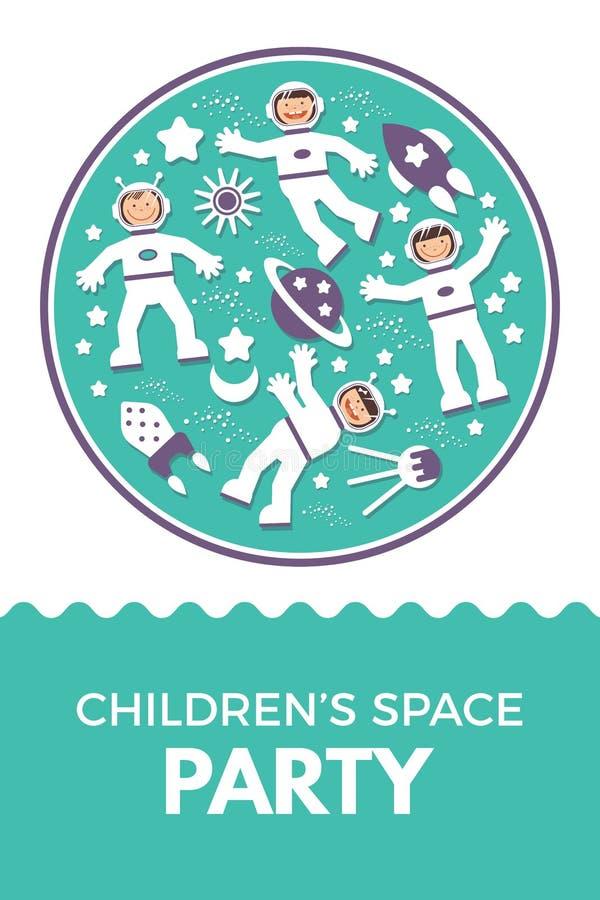 Вечеринка по случаю дня рождения ребенка s Ракеты иллюстрации вектора бесплатная иллюстрация