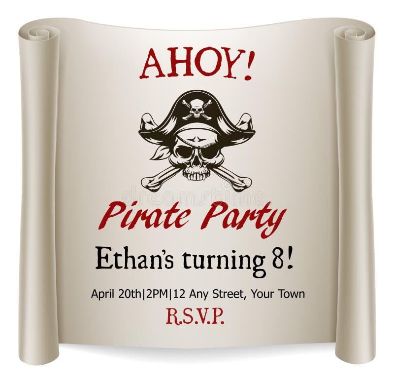 Вечеринка по случаю дня рождения детей пирата приглашает шаблон бесплатная иллюстрация