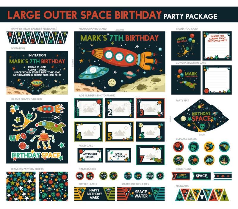 Вечеринка по случаю дня рождения космоса иллюстрация вектора
