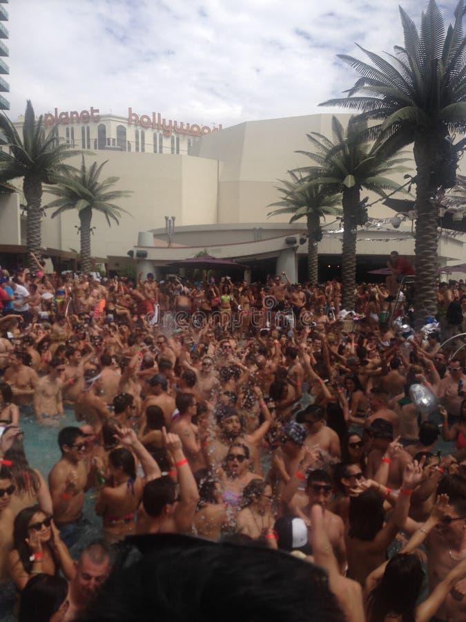 Вечеринка у бассейна Лас-Вегас стоковая фотография rf