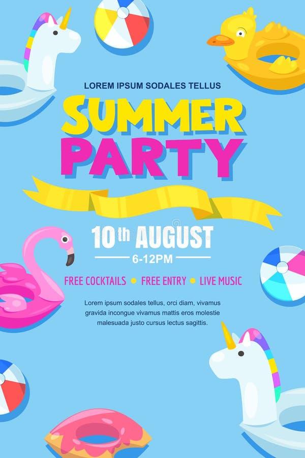 Вечеринка у бассейна лета, плакат вектора, план знамени Единорог, фламинго, утка, шарик, поплавки донута милые в воде иллюстрация вектора