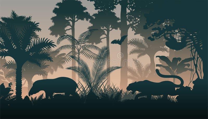 Вечер вектора в джунглях с животными бесплатная иллюстрация