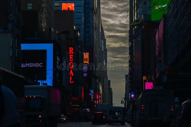 Вечер в Нью-Йорке в декабре 2018 стоковое изображение rf