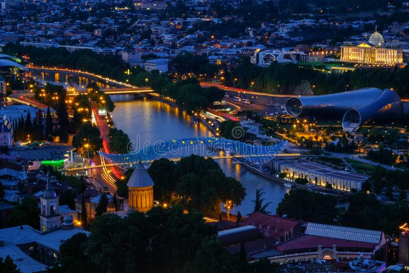 Вечер в Тбилиси, Georgia стоковые фотографии rf