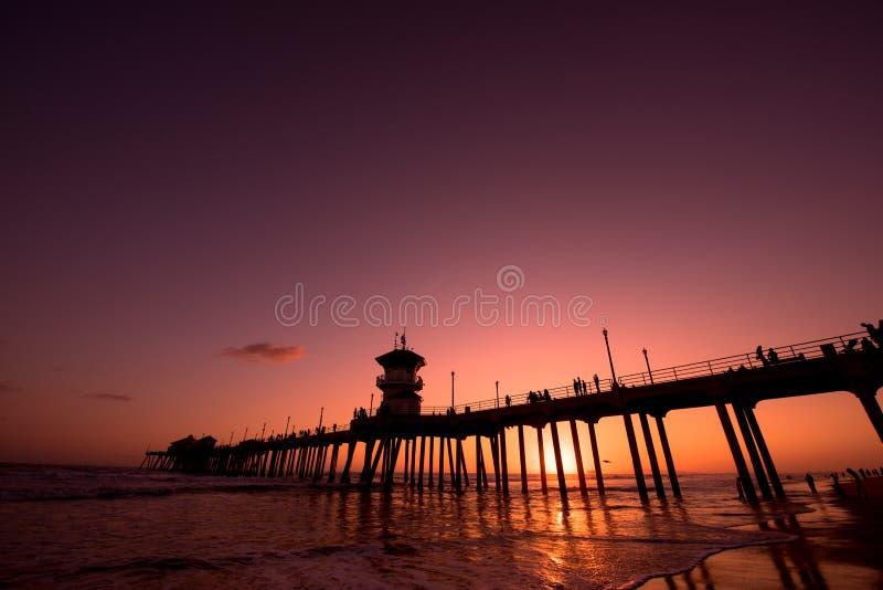 Вечер в Huntington Beach, CA стоковая фотография
