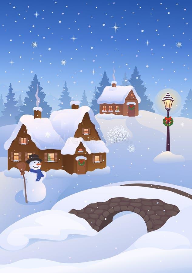 Вечер деревни рождества иллюстрация штока