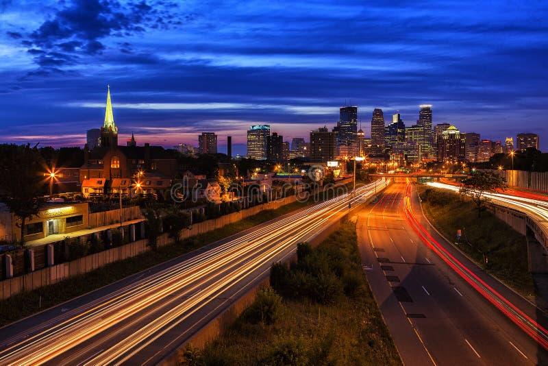 Вечер Миннеаполиса стоковое изображение rf