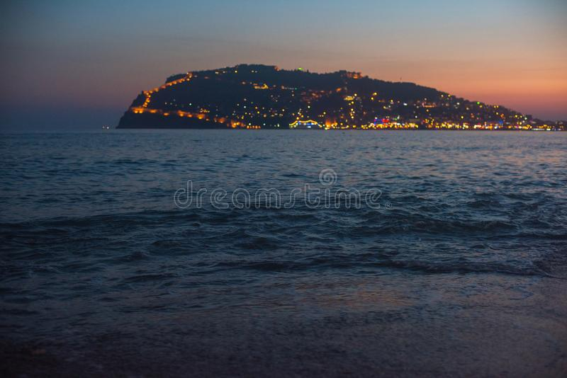 Вечер на побережье Alanya стоковые изображения