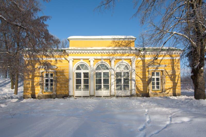 Вечер Hall в парке Катрина в зиме, Tsarskoe Selo, Санкт-Петербурге, России стоковое фото