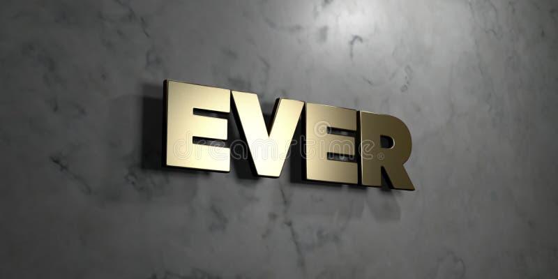 Вечно- знак золота установленный на лоснистой мраморной стене - 3D представило иллюстрацию неизрасходованного запаса королевской  иллюстрация вектора