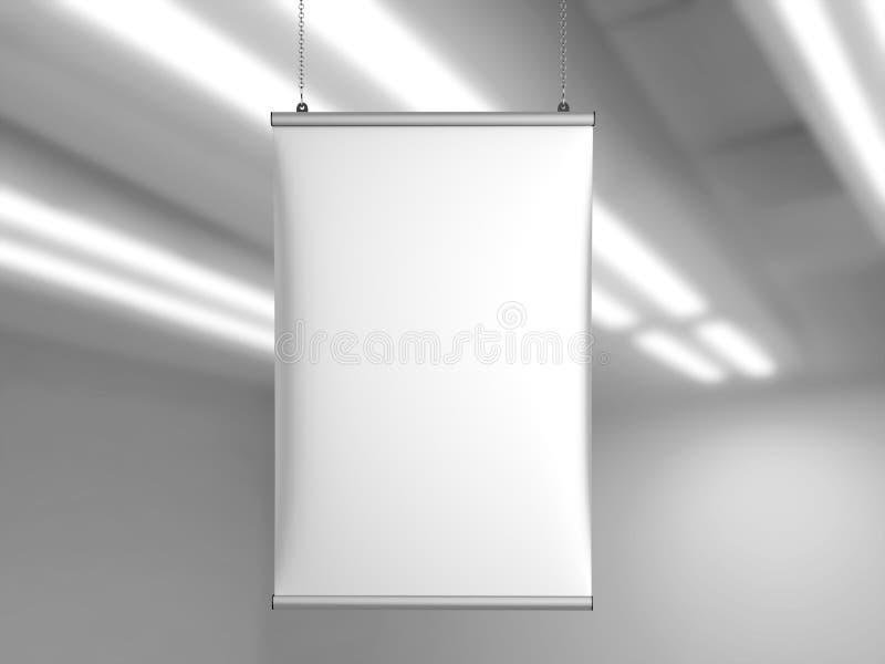 Вешалка плаката знамени потолка сжатия алюминия щелчковая, вися плакат прокладывает рельсы вешалка плаката иллюстрация 3d предста иллюстрация вектора
