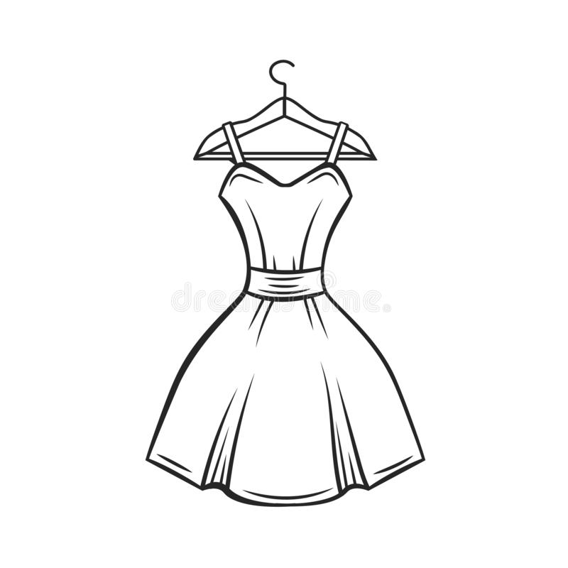 Вешалка платья, план иллюстрация штока