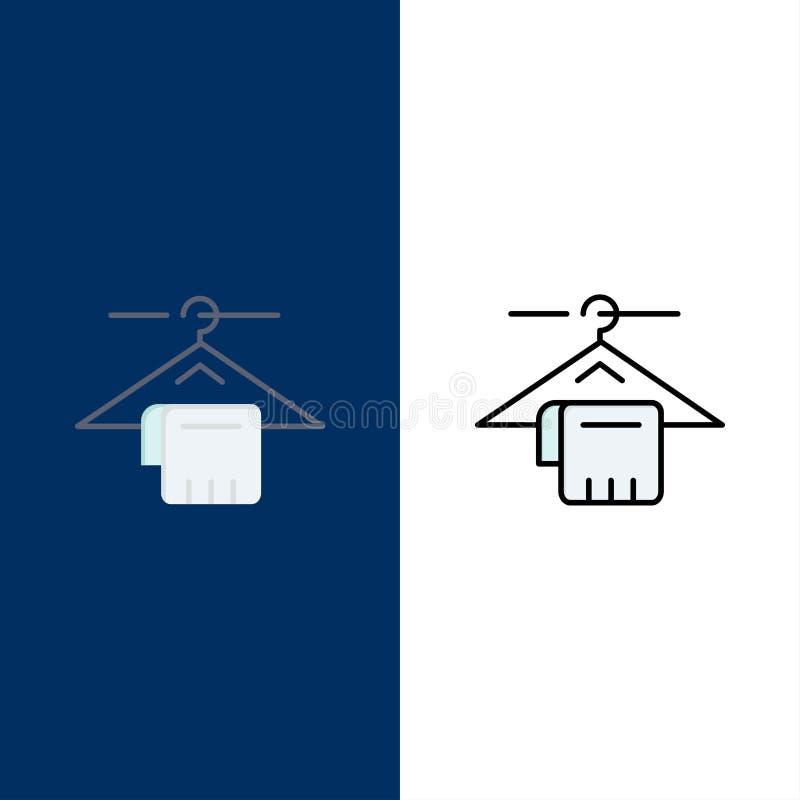 Вешалка, полотенце, обслуживание, значки гостиницы Квартира и линия заполненный значок установили предпосылку вектора голубую иллюстрация вектора
