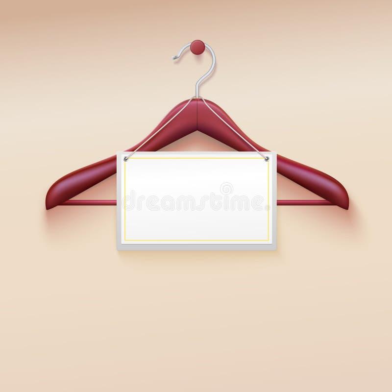 Вешалка одежд с биркой на сливк иллюстрация штока
