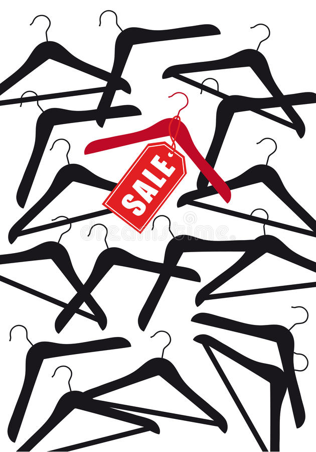 Вешалка одежд с биркой продажи, вектором иллюстрация штока